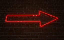 Czerwony strzałkowaty neonowy Obrazy Royalty Free