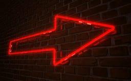 Czerwony strzałkowaty neonowy Obraz Royalty Free
