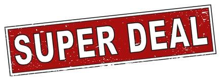 Czerwony super transakcja znaczka kwadrata grunge znak Zdjęcie Royalty Free