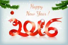 Czerwony szczęśliwy nowego roku faborek na snowing tle royalty ilustracja