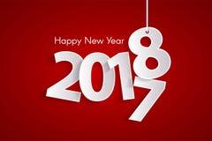 Czerwony Szczęśliwy nowego roku 2018 pojęcie z papierem cuted białe liczby na arkanach ilustracji
