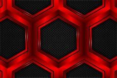 Czerwony sześciokąt kruszcowy na czarnej siatce jako tło royalty ilustracja