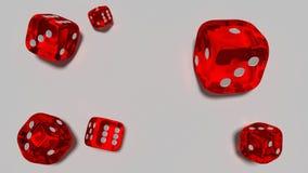 Czerwony szkło dices odpłaca się na białym tle 3d royalty ilustracja