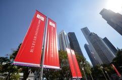 Czerwony sztandar Azjatycki Civilisations muzeum lokalizować w Singapur Fotografia Royalty Free