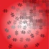 Czerwony tło z rozrzucanie łamigłówką ilustracja wektor