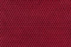 Czerwony tło od miękkiego wełnistego tkaniny zbliżenia Tekstura tekstylny makro- Obrazy Royalty Free
