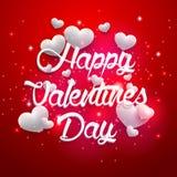 Czerwony tło valentines dnia rocznik pisze list białych serca Zdjęcie Stock