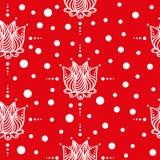 Czerwony tło z białymi kwiatami bezszwowy wzoru Obraz Stock