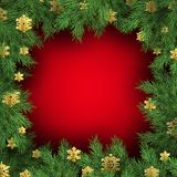 Czerwony tło z choinek gałąź Świąteczny Xmas szablon zieleni gałąź sosna 10 eps ilustracja wektor