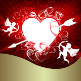 Czerwony tło z sercem i strzała Obraz Royalty Free