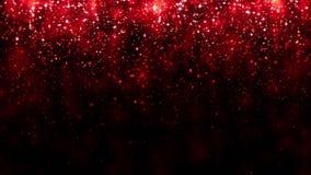 Czerwony tło z spada błyskotliwość cząsteczkami Piękny świąteczny iskrzasty tło Spada błyszczący cząsteczki bokeh Bezszwowa pętla royalty ilustracja