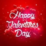 Czerwony tło valentines dnia rocznika literowanie Zdjęcia Stock