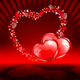 Czerwony tło z ustalonymi sercami Fotografia Stock