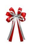 Czerwony tasiemkowy łęk odizolowywający na białym tle Fotografia Royalty Free