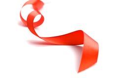 czerwony tasiemkowy atłas Fotografia Royalty Free
