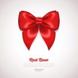 Czerwony Tasiemkowy Atłasowy łęk na bielu wektor Obrazy Royalty Free