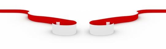 czerwony tasiemkowy biel Obrazy Royalty Free
