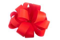 czerwony tasiemkowy biel Fotografia Royalty Free