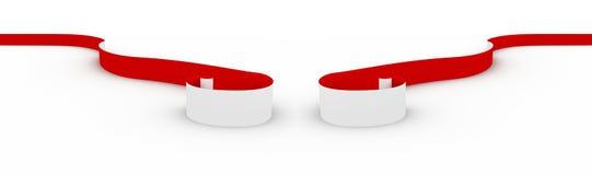 czerwony tasiemkowy biel Zdjęcie Royalty Free