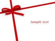 czerwony tasiemkowy prosty biel Fotografia Royalty Free