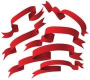 czerwony tasiemkowy set Obraz Stock