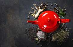 czerwony teapot Obrazy Royalty Free
