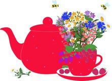 Czerwony teapot i filiżanka z ziele i jagodami Zdjęcia Stock