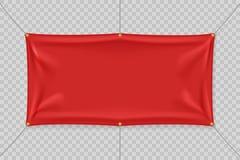 Czerwony tekstylny sztandar z fałdami Ilustracji