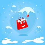 Czerwony torba na zakupy postać z kreskówki zrozumienie na soplu ilustracja wektor