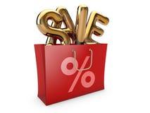 Czerwony torba na zakupy z słowo sprzedażą inside koncepcja 3 d Fotografia Royalty Free