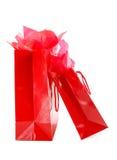 czerwony torby na zakupy Fotografia Stock