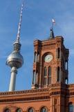 Czerwony townhall Berlin Germany zdjęcie royalty free