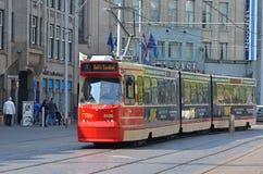 Czerwony tramwaj w Haga Zdjęcie Royalty Free