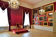 Czerwony Tronowy pokój w Gatchina pałac Obraz Royalty Free
