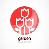 Czerwony tulipanowy kwiat w okręgu, wektorowy loga szablon Abstrakcjonistyczny desig Obraz Stock