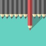 Czerwony unikalny różny ołówek ilustracja wektor