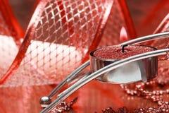 czerwony uroczyście wstążkę candle Zdjęcia Stock