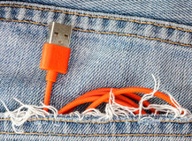 Czerwony USB kabel w cajg kieszeni Fotografia Royalty Free