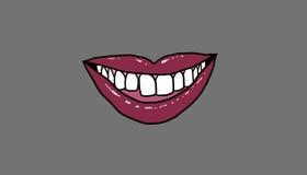 Czerwony usta, uśmiech z zdrowymi zębami, ilustracja Obrazy Stock