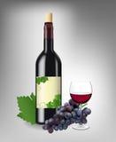 czerwony ustalony wino Obraz Royalty Free