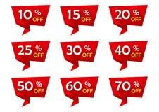 Czerwony ustawiający reklamy etykietki faborki z dyskontowymi ofertami odznaki sprzedaż również zwrócić corel ilustracji wektora ilustracja wektor