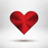 Czerwony Valentiness dnia serce z metal teksturą ilustracja wektor