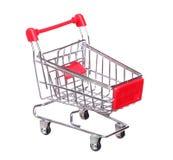 Czerwony wózek na zakupy Odizolowywający Na bielu Obraz Royalty Free