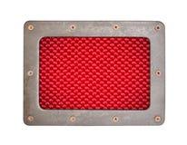 Czerwony włókna tła talerz z metal ramą Zdjęcia Royalty Free
