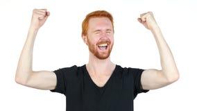 Czerwony Włosiany mężczyzna gestykulować, szczęście i sukces, odświętność, Biały Bacground Obrazy Stock