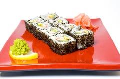 czerwony walcowane sushi Zdjęcia Royalty Free