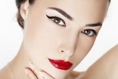 Czerwony wargi piękna portret zdjęcie stock