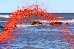 Czerwony watercolour pluśnięcie Obraz Royalty Free