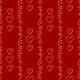 Czerwony wektorowy bezszwowy tło z pociągany ręcznie sercami Zdjęcia Royalty Free