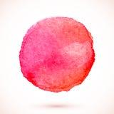 Czerwony wektorowy odosobniony akwareli farby okrąg Obrazy Stock